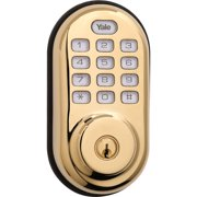 YALE REAL LIVING Electronic Keyless Deadbolt,Bright Bras YRD216ZW605