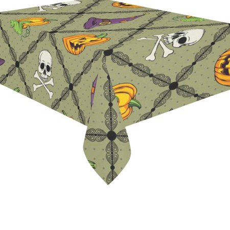MYPOP Halloween Orange Pumpkin Face Hat Cotton Linen Tablecloth Set 60x84 Inches - Green Checker Polka Dots Desk Table Cloth Cover for Wedding Holiday Party Decoration](Halloween Tablecloth Ideas)