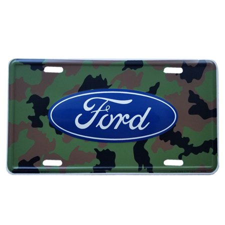 Camouflage FORD Logo Camo Aluminum Metal License Plate Stamped Embossed Tag for Car Truck