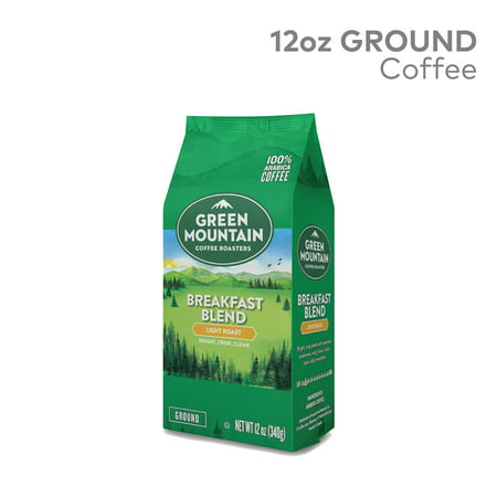 Green Mountain Coffee Roasters, Breakfast Blend, Ground Coffee, Light Roast, Bagged 12oz Java Estate Green Coffee