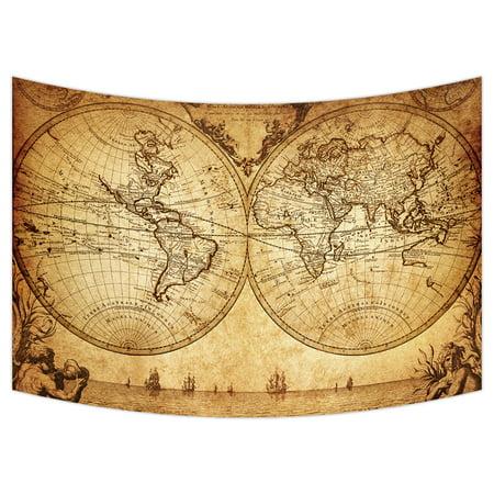 YKCG Vintage World Map Ancient Nautical Chart Navigation Voyage Sailing Wall Hanging Tapestry Wall Art 90x60 inches