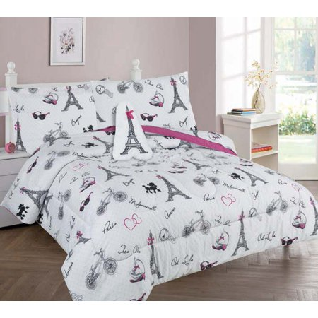 Golden Linens Twin Size 6 Pieces Printed Comforter with sheet set Bed in Bag Multi colors White Black Pink Paris Eiffel Tower Design Girls / Kids/ Teens # Twin 6 Pc Paris ()