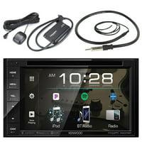 "Kenwood DVD Bluetooth USB Multimedia Double-DIN Stereo Receiver w/ 6.2"" WVGA Touch Panel, SiriusXM Satellite Radio Connect Vehicle Tuner Kit, Enrock Marine AM/FM Radio Antenna"