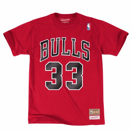 Scottie Pippen Chicago Bulls NBA Mitchell & Ness Red Hardwood Classics Retro Player N&N Jersey T-Shirt For (Nba Player T-shirt)