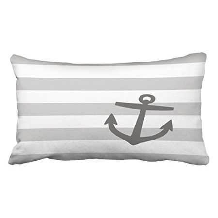 WinHome Decorative Stripe Pattern Pillowcase Gray And Charcoal Nautical Stripes And Cute Anchor Throw Pillow Covers Size 20x30 inches Two Side