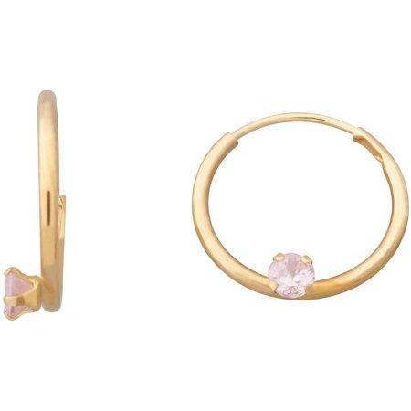 Kids' 10kt Yellow Gold 2.5mm Pink CZ 12mm Endless Hoop Earrings ()