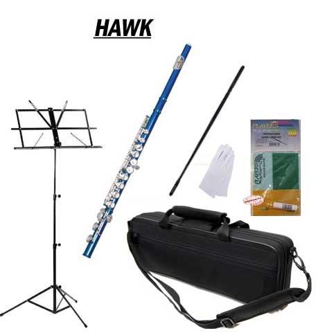 Hawk Blue Closed Hole C Flute School Package with Case, Music Stand, and Cleaning Kit