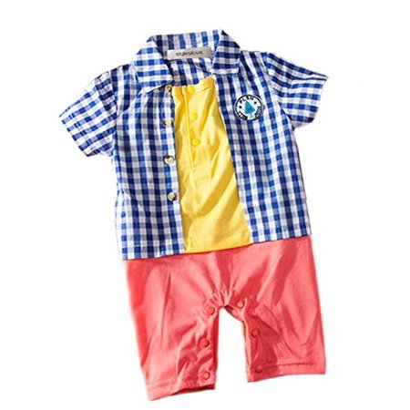 StylesILove Baby Boy Plaid Colorful Romper (3-6 Months, (Blue Plaid Romper)