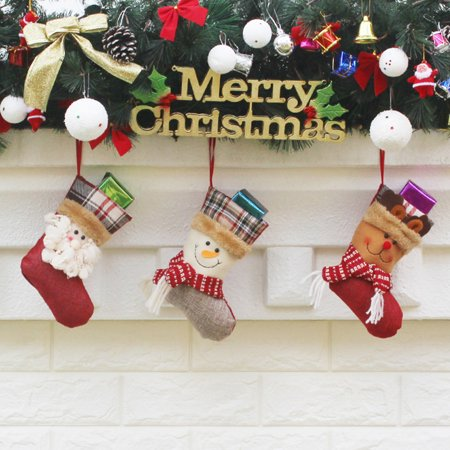 3pcs/set Christmas Hanging Stockings Santa Snowman Reindeer Gift Candy Bags Christmas Decoartions Ornaments - image 5 of 7