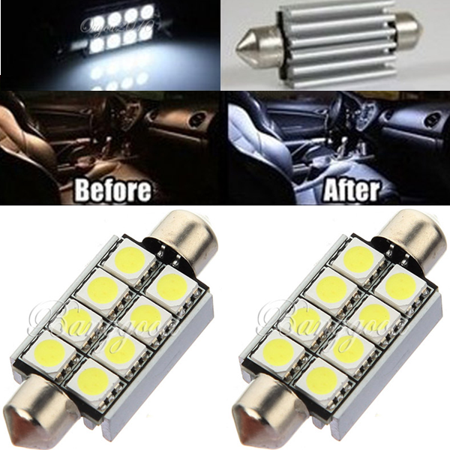 2x 42mm 8 SMD 5050 carlighting White Canbus Festoon Car Dome Map Interior LED Light bulbs