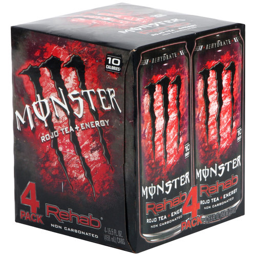 Monster Rehab Rojo Tea + Energy Drinks, 15.5 fl oz, 4 pack