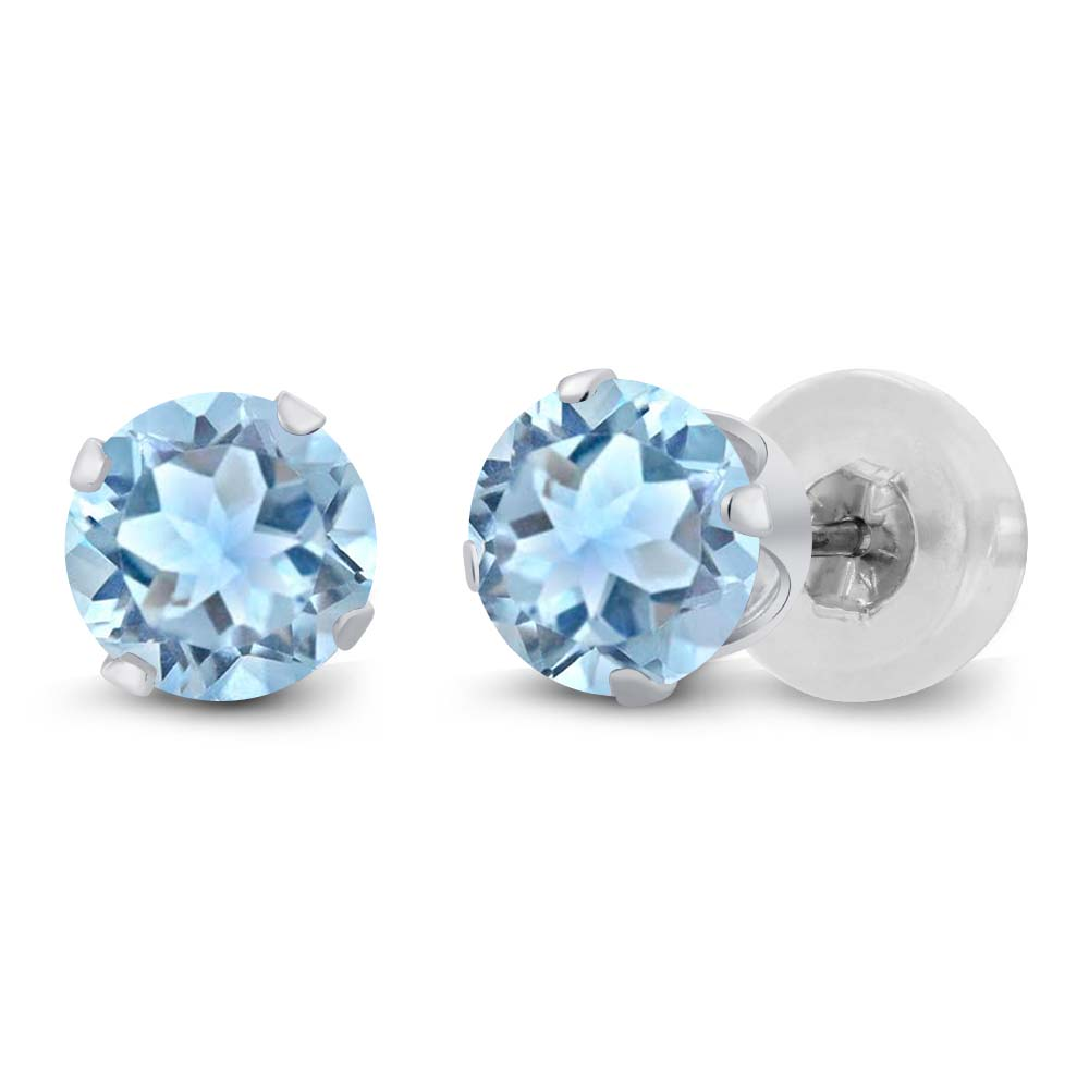 1.00 Ct Round 5mm Sky Blue Topaz 14K White Gold Stud Earrings