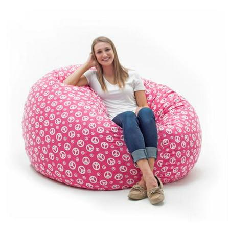 Fufsack Memory Foam Peace Sign Pink 4 Foot Large Bean Bag Lounge Chair