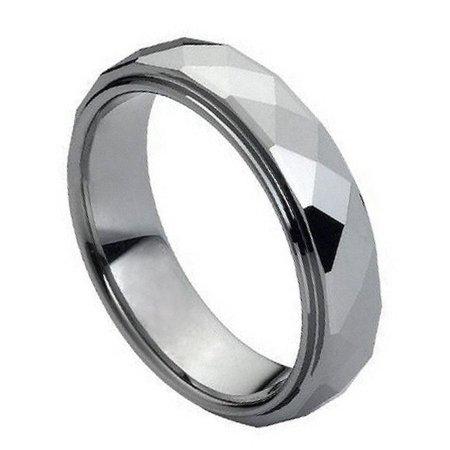 6mm Tungsten Carbide Facet cut Squares Design Wedding Band Ring For Men Or Ladies (6mm Design Band Ring)