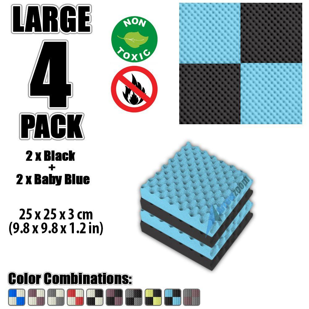 "Arrowzoom New Black and Baby Blue 9.8"" x 9.8"" x 1.1"" Convoluted Egg Crate Tile Acoustic Studio Sound Absorption Foam, 4-pcs"