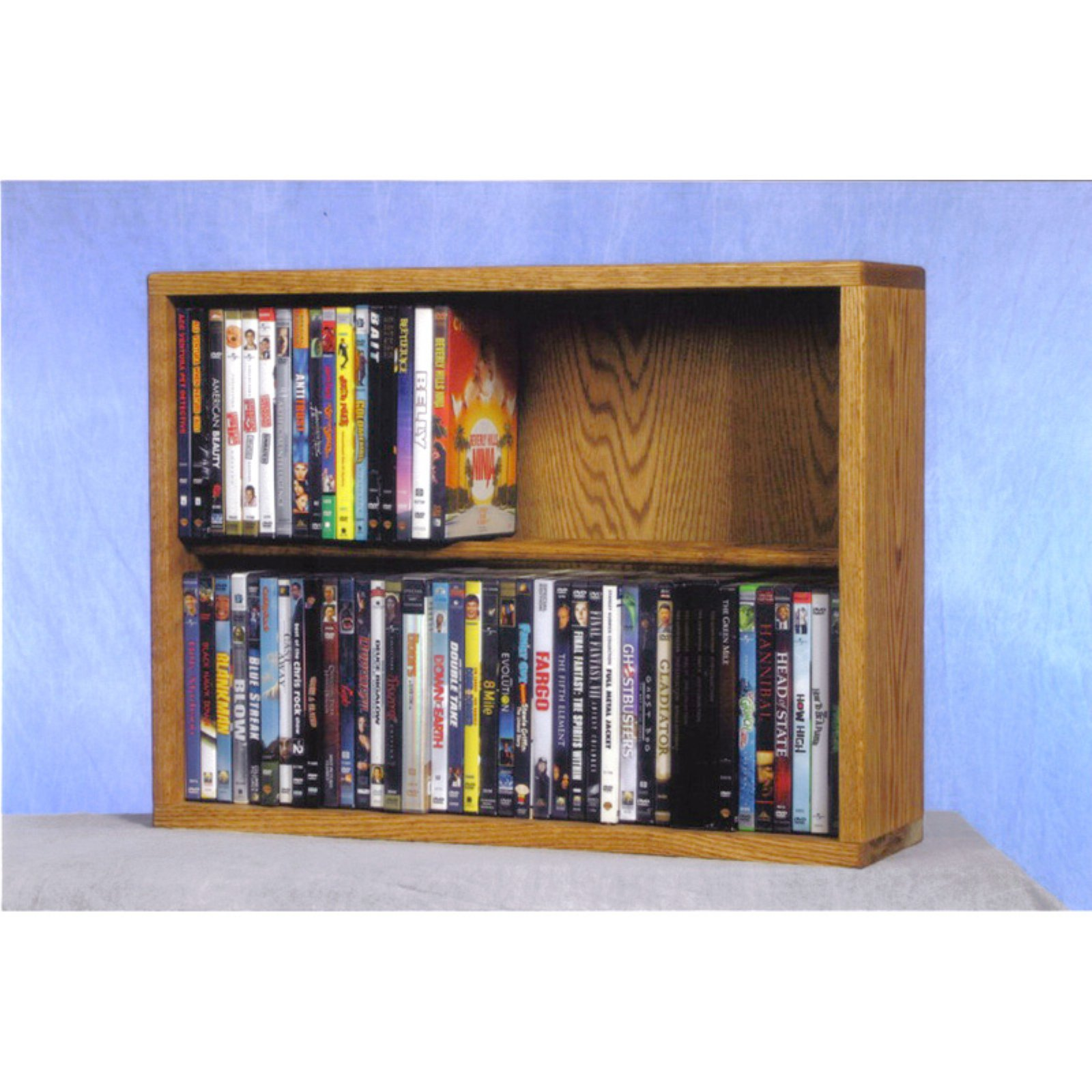 The Wood Shed Solid Oak 2 Row Dowel 80 DVD Media Rack by The Wood Shed