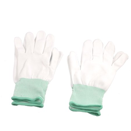 2 Pair White Green Full Finger Elastic Working Gloves](Finger Light Gloves)