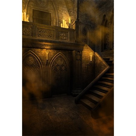 MOHome Polyster 5x7ft Gloomy Gothic Style Backdrop For Photography Scary Vintage Room Stone Wall Stairs Candle Halloween Background Photo Studio Props Adult Girl Boy Kid Youngster Artistic Portrait