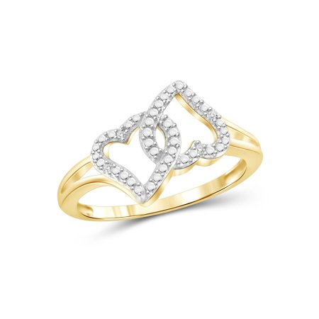White Diamond Accent 14kt Gold Over Silver Double Heart Open Ring