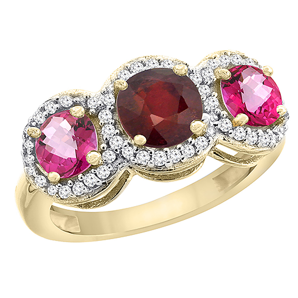 10K Yellow Gold Enhanced Ruby & Pink Topaz Sides Round 3-stone Ring Diamond Accents, sizes 5 10 by WorldJewels