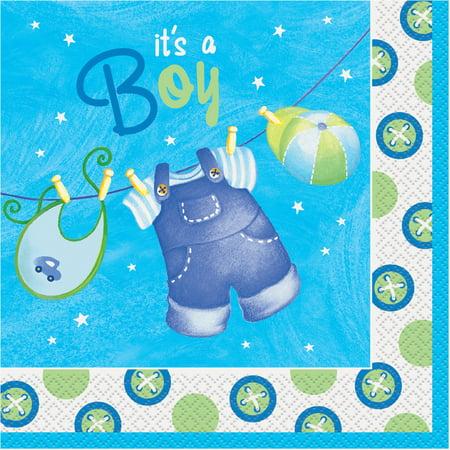 Clothesline Baby Shower Napkins, 6.5 in, Blue, 16ct (Baby Shower Clothesline)