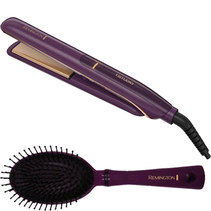 "Bonus Thermaluxe Brush Bundle! Remington Thermaluxe Ceramic Hair Straightener Flat Iron, 1"" Wide, S9110"