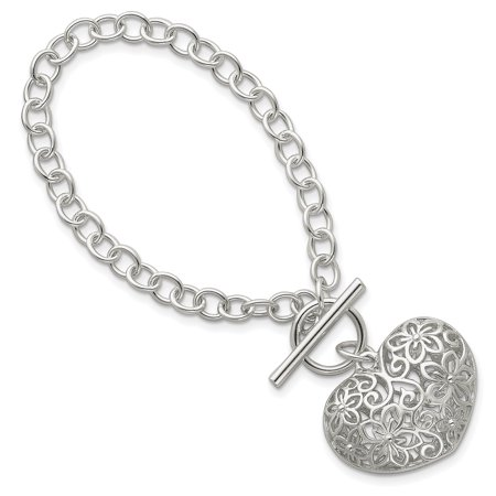 925 Sterling Silver Heart Toggle Bracelet 7.75 Inch Charm W/charm /love Gifts For Women For