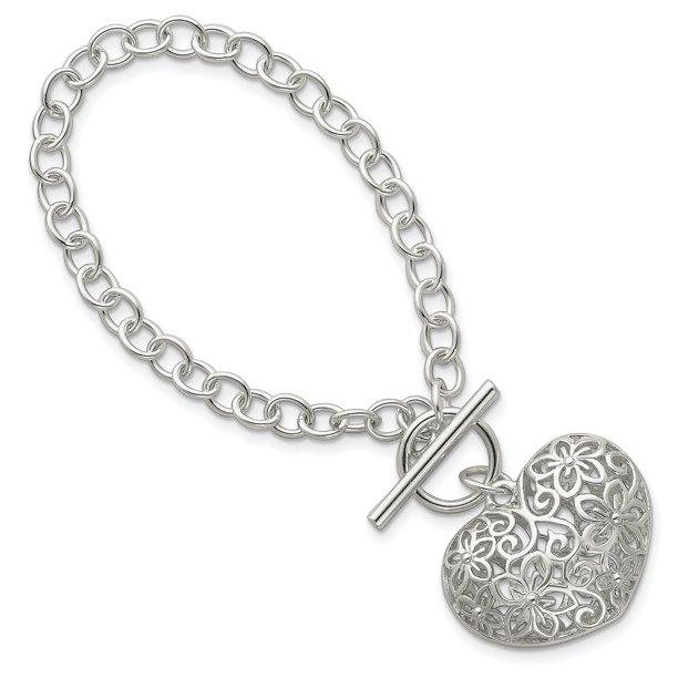 925 Sterling Silver Filigree Heart Toggle Bracelet 7.75 Inch Charm...