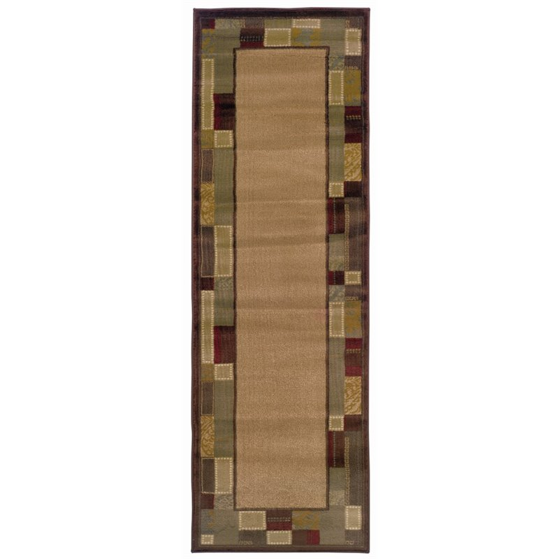 "Oriental Weavers Amelia 2'6"" x 7'9"" Machine Woven Runner Rug in Beige"