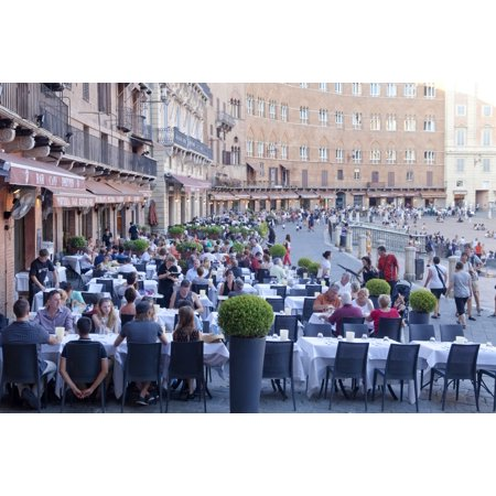 Italy Tuscany Piazza Del Campo   Tourists At Restaurants Poster Print