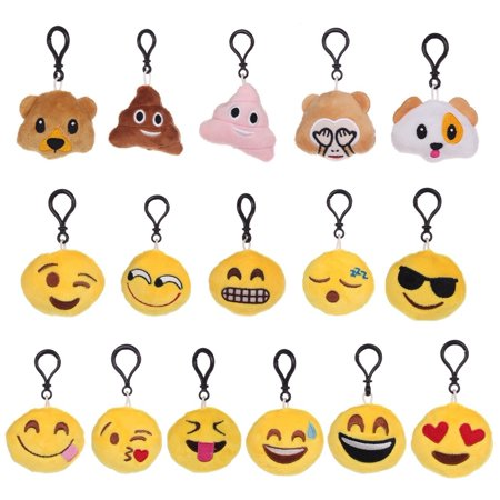 MINI-FACTORY Emoji Keychain Cute Plush Toy Decoration for Key Chain (Pack of 16)