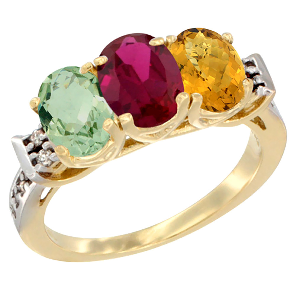 10K Yellow Gold Natural Green Amethyst, Enhanced Ruby & Natural Whisky Quartz Ring 3-Stone Oval 7x5 mm Diamond Accent,... by WorldJewels