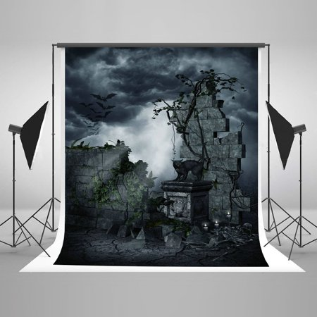 HelloDecor Polyster 5x7ft Vintage Halloween Photography Backdrop Photo Brick Wall Dark Clouds Background Photo Booth Props for Party](Vintage Halloween Photo)