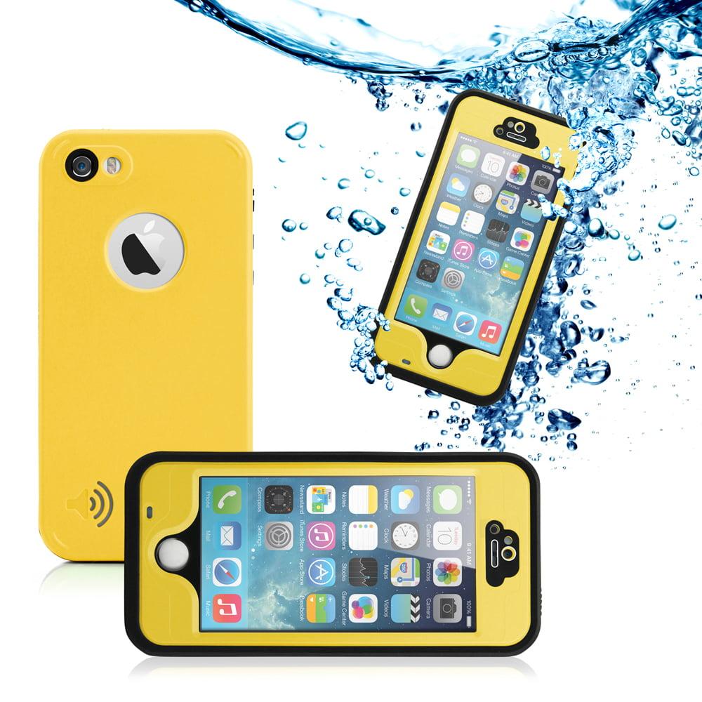 New 2016 Durable Waterproof Shockproof Snow DirtProof Fingerprint Scanner Full Case Cover For Apple iPhone SE 5 5S  - Yellow