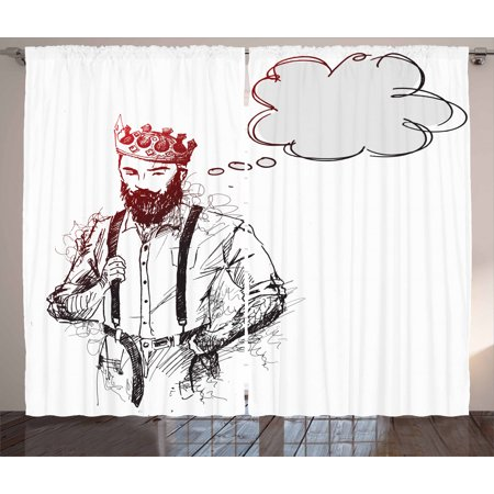 Indie Curtains 2 Panels Set, Cool Hipster King Character with Crown and Thinking Bubble Sketch Artwork, Window Drapes for Living Room Bedroom, 108W X 84L Inches, Light Grey Black Red, by Ambesonne King Panel Set