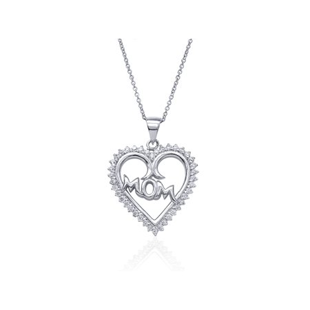 Sterling Silver Round White Zirconia MOM Heart Shape Pendant With 18