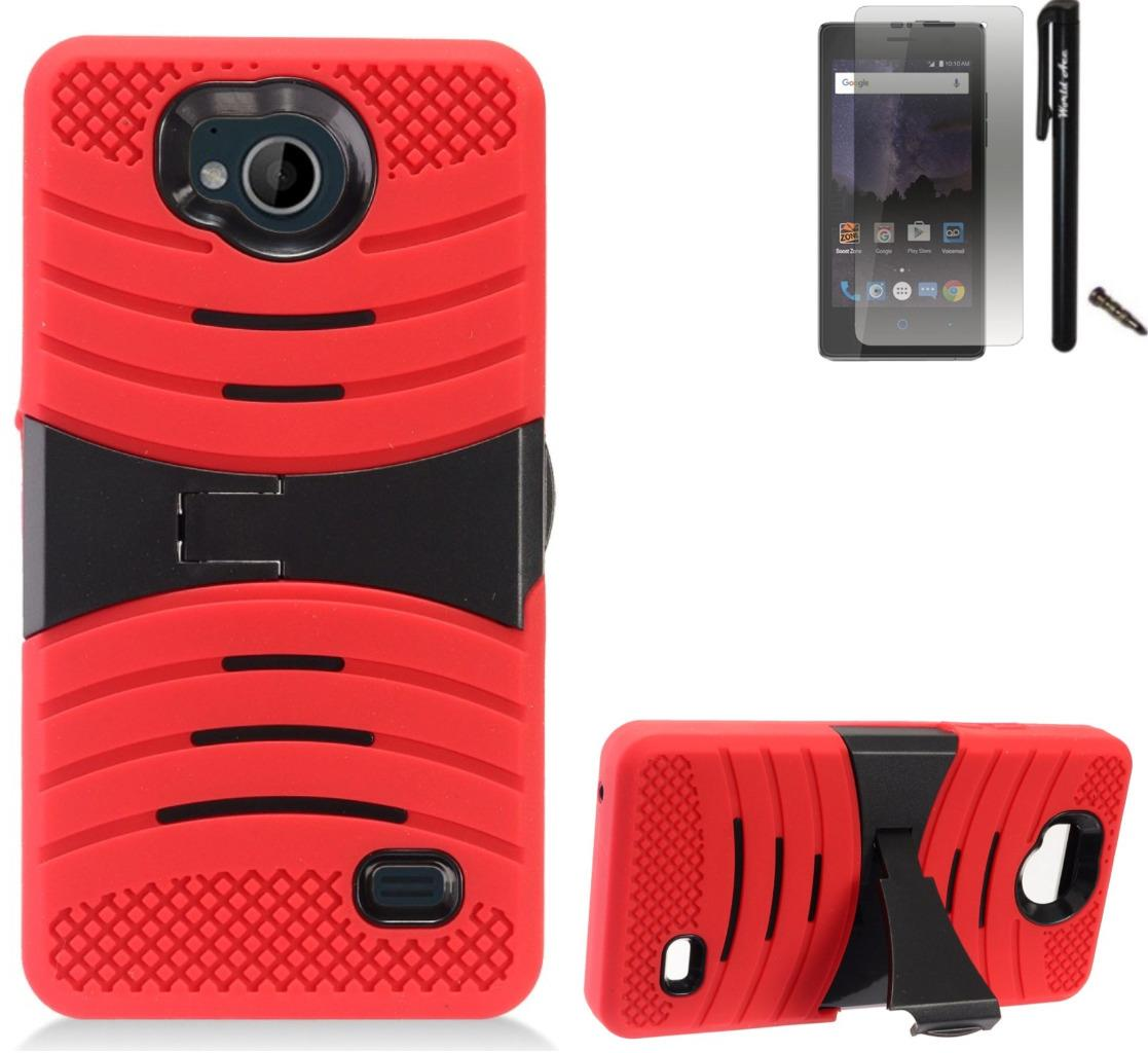 For ZTE Tempo N9131 Case / ZTE Majesty Pro LTE Case Symbiosis Armor Hybrid Silicone Phone Cover Plastic w/ Curve Stand Combo Pack (Black/Red)