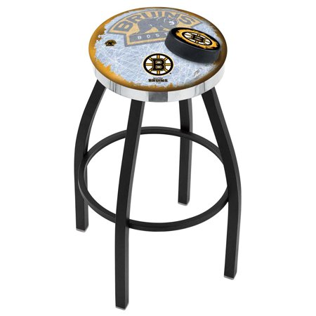 Boston Bruins 25 Inch L8B2C Black Wrinkle With Accent Ring Bar Stool
