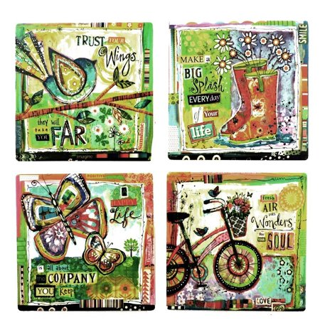 Tumbled Tile Coasters Set Of 4 Silver Fever Coffee Cup Drinks Wine Cork Back Non Slip Coaster Vintage Bike Hy Life