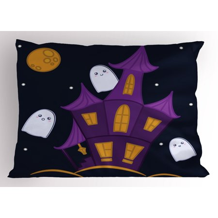 Ghost Pillow Sham, Dark Night Haunted House with Ghosts Halloween Design Illustration in Cartoon Style, Decorative Standard Queen Size Printed Pillowcase, 30 X 20 Inches, Multicolor, by Ambesonne - Queen Of The Night Tickets Halloween