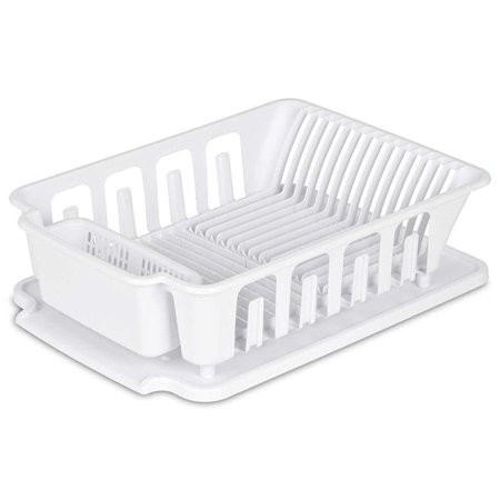 Sterilite Heavy Duty Sturdy Hard Plastic 2 Pc Sink Set With Dish Rack Large With Drainer & Drainboard,Snap Lock Tabs,Cup Holders for Home Kitchen Counter Top Organize Store-White