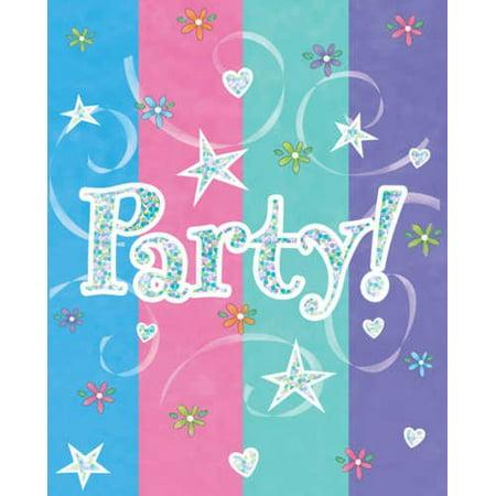 Unicorn Birthday Card - Girl Time Party Invitations.