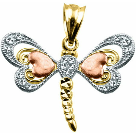 US GOLD Handcrafted 10kt Gold Tri-Color Dragonfly Charm Pendant