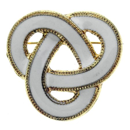 Gold-Tone and White Celtic Knot Brooch Pin TMP111