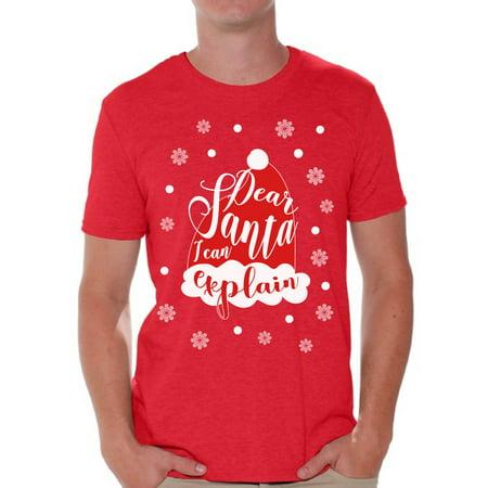 Awkward Styles Dear Santa I Can Explain Tshirt for Men Dear Santa Shirts Funny Christmas Shirt for Men Xmas Men's Tshirt Holiday Gifts Holiday Shirt for Christmas Santa Hat Shirt Christmas Party - Hat T Shirt