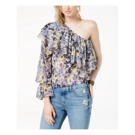Lucky Brand One-Shoulder Tiered Flounce Top Blue Multi M Season Long Sleeve Top