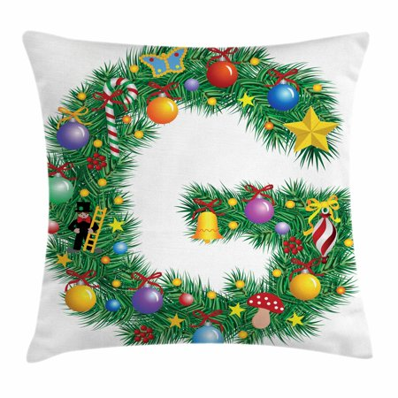 Letter G Throw Pillow Cushion Cover, Christmas Tree Style Letter G with Capital Style Vibrant Celebration Items Holiday, Decorative Square Accent Pillow Case, 18 X 18 Inches, Multicolor, by - Holiday Items