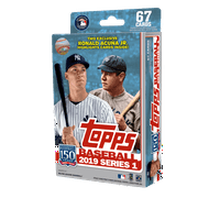 2019 TOPPS MLB BASEBALL SERIES 1 HANGER BOX- RELIC EDITION WITH 67 CARDS AND EXCLUSIVE RONALD ACUNA JR CARDS