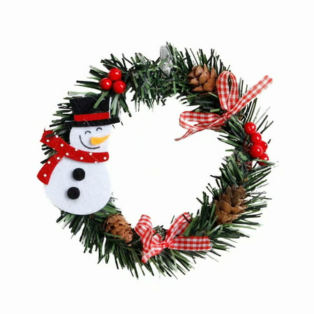 Akoyovwerve Christmas Tree Decoration Snowman Pattern Wreaths Garland for Door Hanger Wall Ornaments (Wood Snowman Patterns)