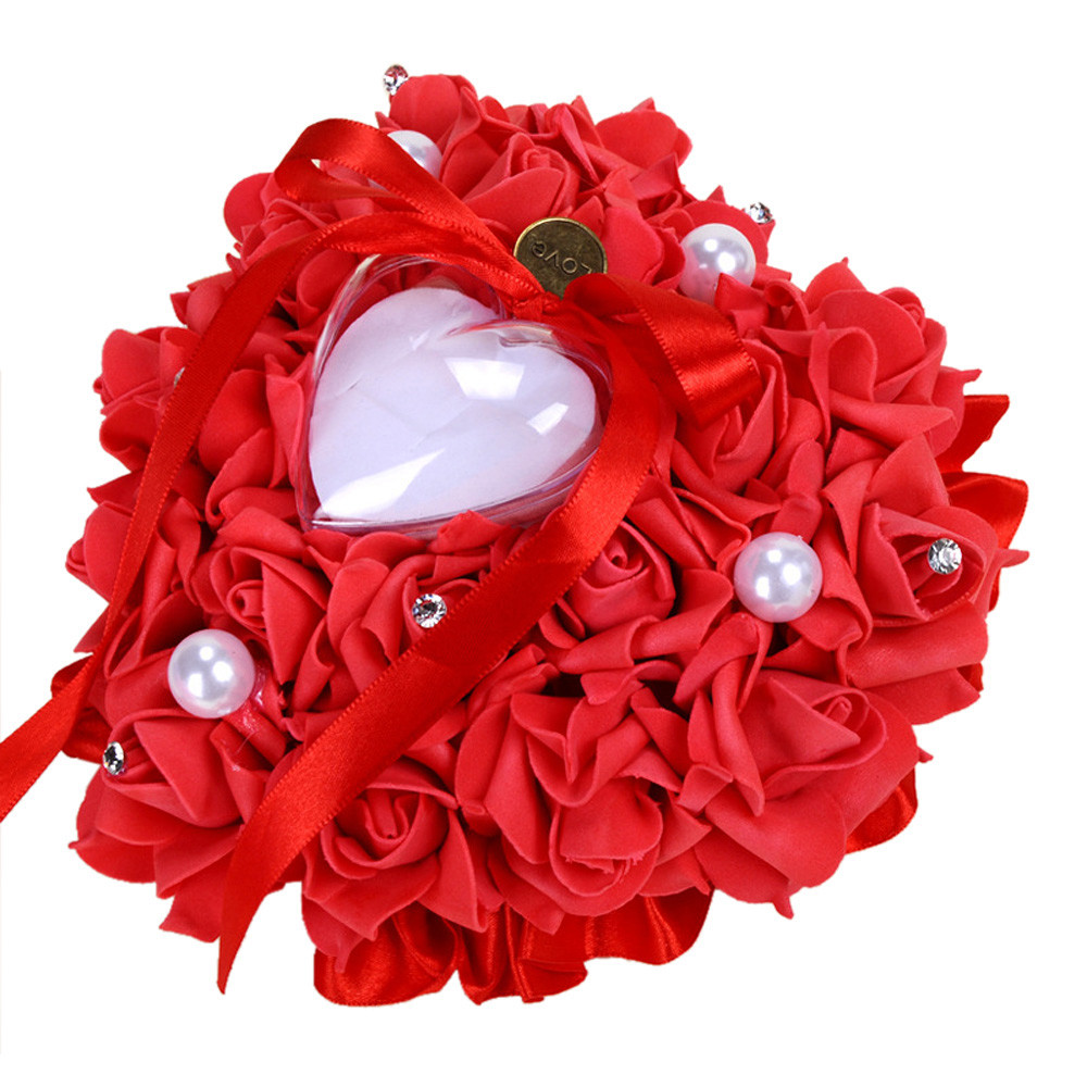 Mosunx Wedding Ring Pillow Heart Box With Ribbon Pearl For Wedding Supplies Gift